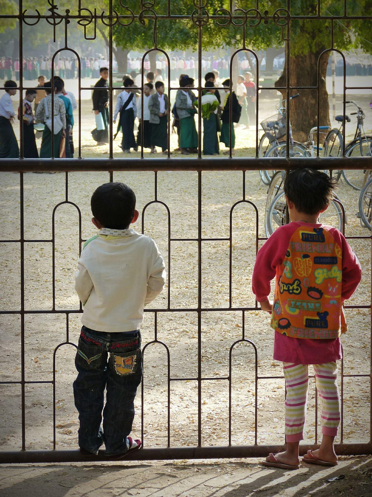 The Color Of School School Education School Day School Life  Beautiful Myanmar Myanmarphotos Myanmar Burma People In And Out Fence Fence
