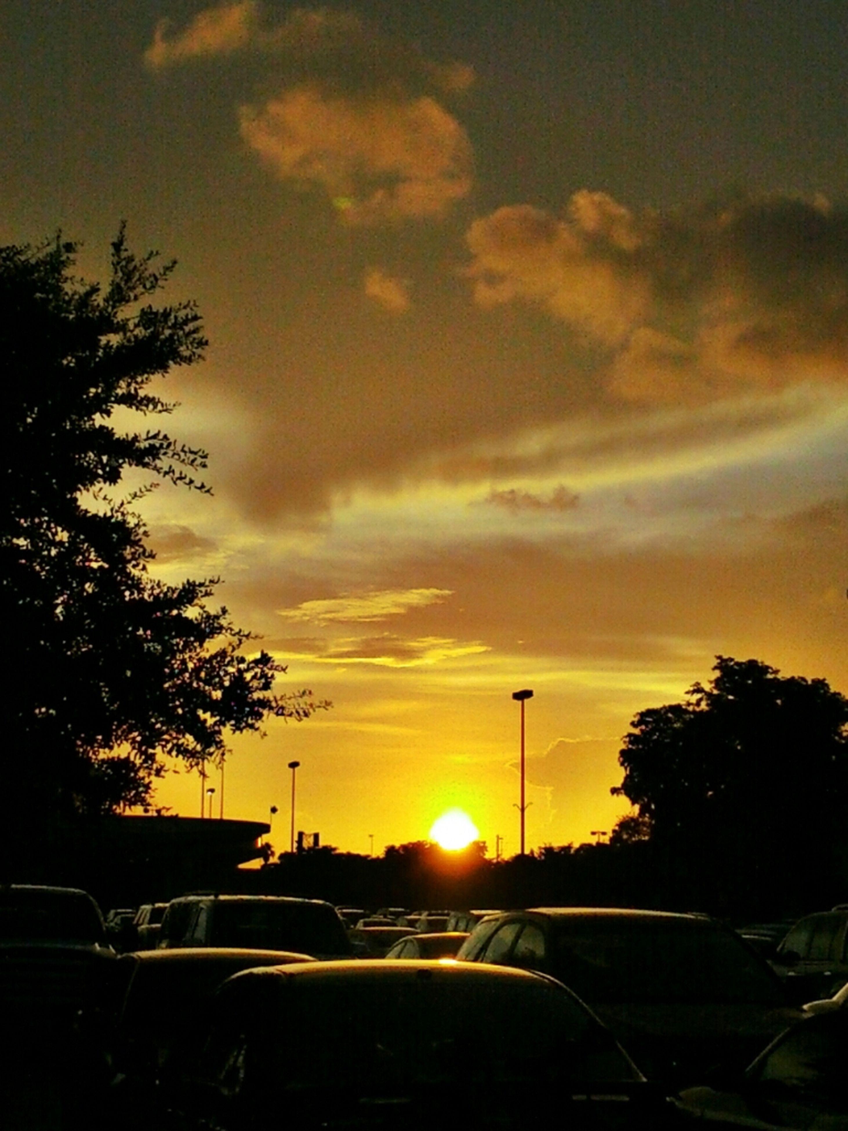 sunset, transportation, car, land vehicle, silhouette, sky, tree, mode of transport, orange color, road, sun, cloud - sky, street light, street, nature, sunlight, traffic, beauty in nature, outdoors, cloud