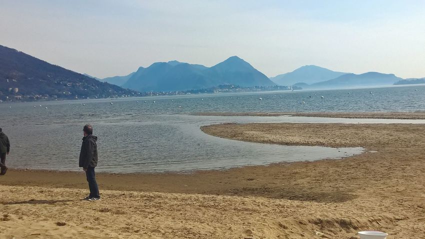 One Man Only Mountain One Person Only Men Adult Rear View Scenics Sand Water Beauty In Nature
