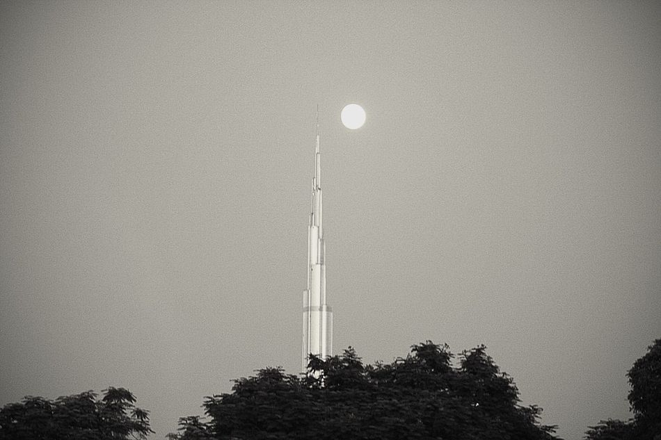 Tower Architecture City Moon Burj Khalifa Built Structure Tree Sky Low Angle View EyeEmNewHere Welcome To Black Break The Mold TCPM