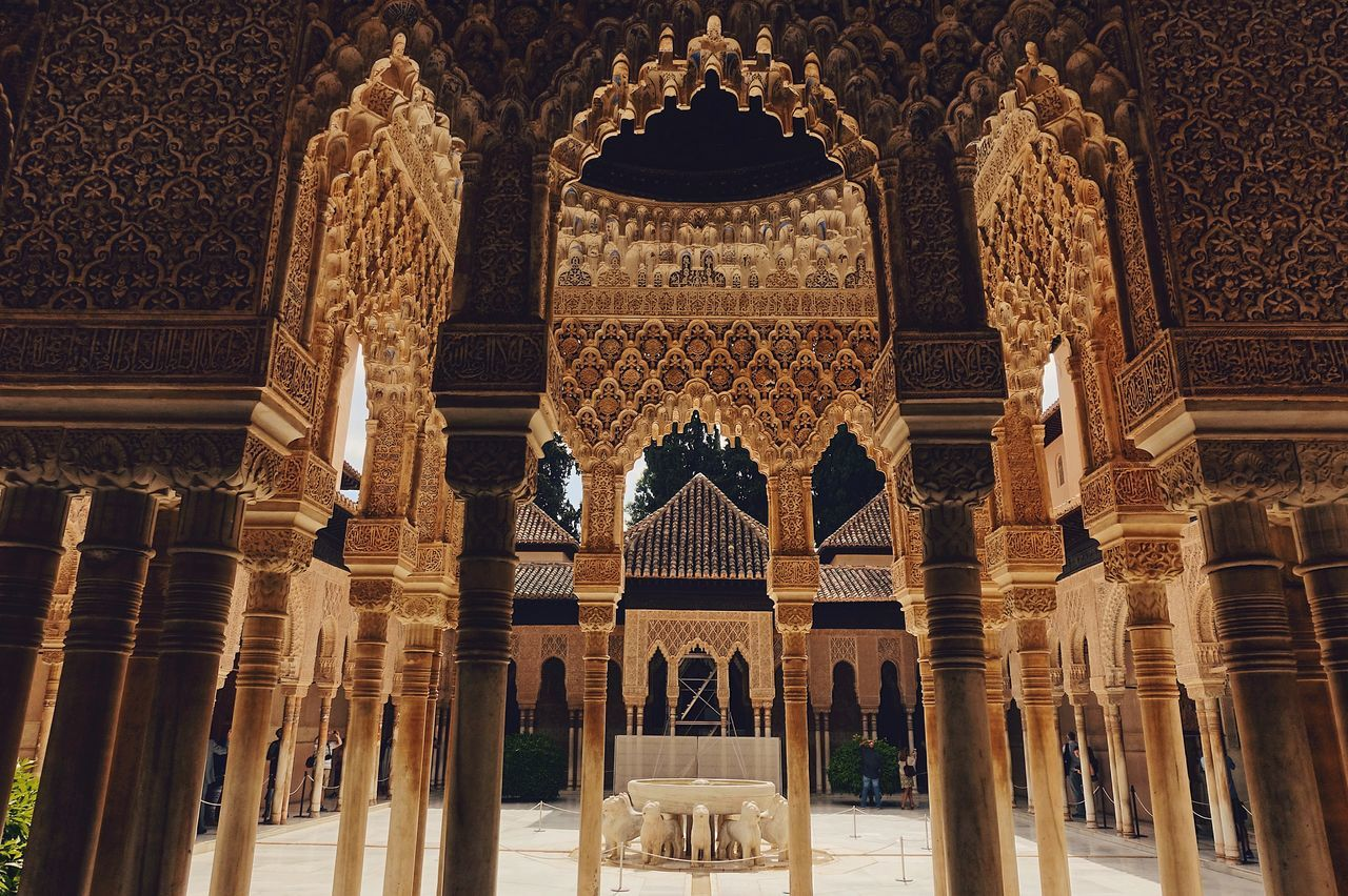 Court of the Lions//. Alhambra Arch Architecture Building Built Structure Detail Famous Place Gold Granada Historical Building History Indoors  Lion Old Old Buildings Pattern Perspective SPAIN Sunlight Sunshine Travel Travel Destinations The Architect - 2017 EyeEm Awards