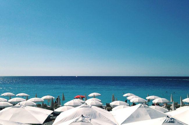 Beach Seaside Sea And Sky Côte D'Azur Blue Parasol