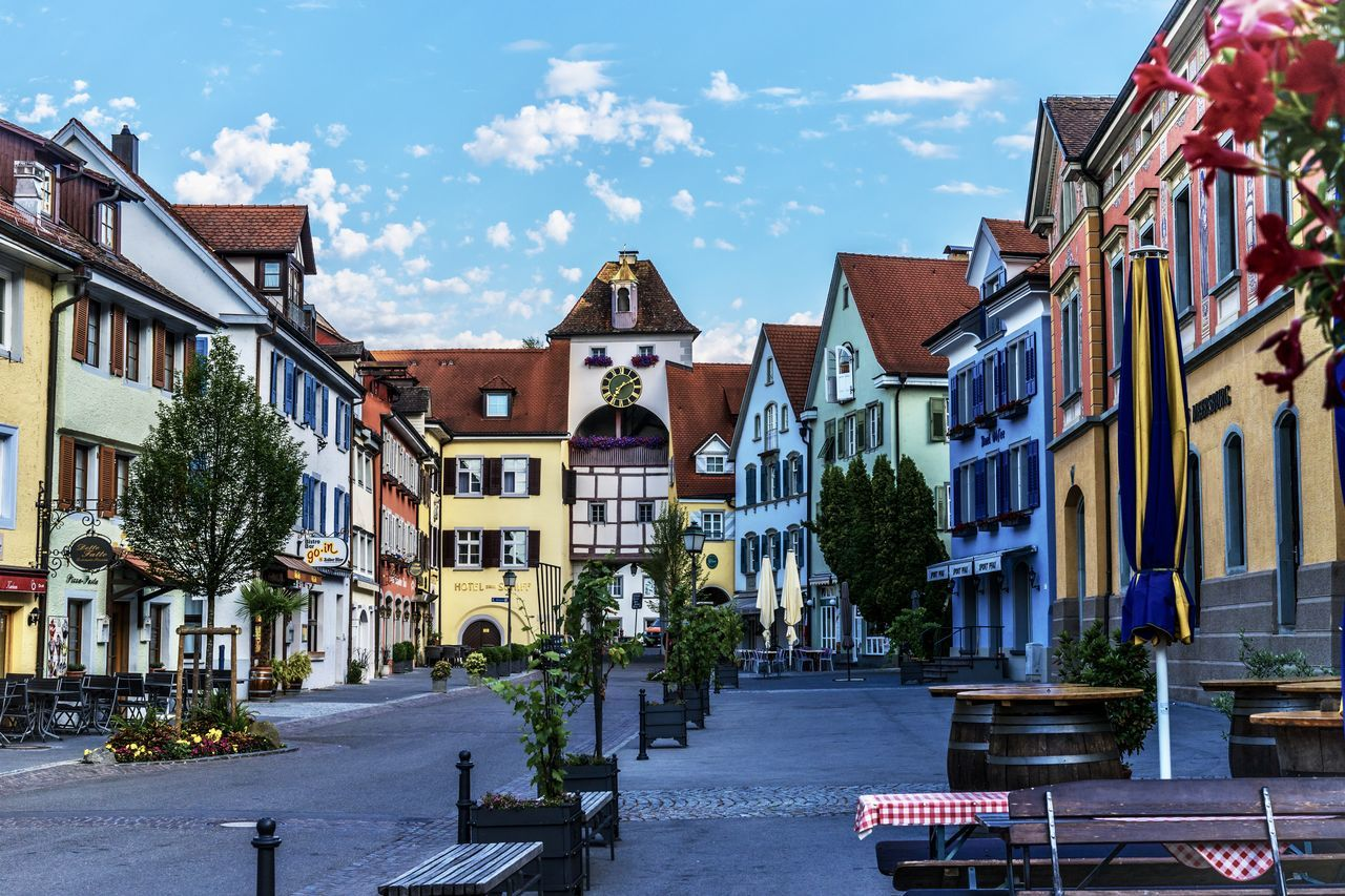 Old Town City Street Cityscape Colors Meersburg Architecture Balcony Building Building Exterior Buildings Built Structure City Cloud - Sky Color Colorful Day Middle Ages No People Outdoors Residential Building Sky Street Streetphotography Tree Street Photography