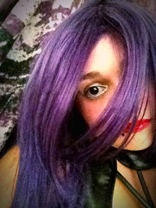 Purple Hair Dont Care Freedom To Be Me Freedom To Express  Leather Red Lips