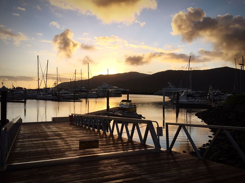 Transportation Nautical Vessel Moored Boat Mode Of Transport Water Mountain Sunset Calm Tranquility Sky Tranquil Scene Mountain Range Cloud Lake Ocean Pier Mast Harbor Group Of Objects Pacific Ocean Cairns, North Queensland, Australia Australia