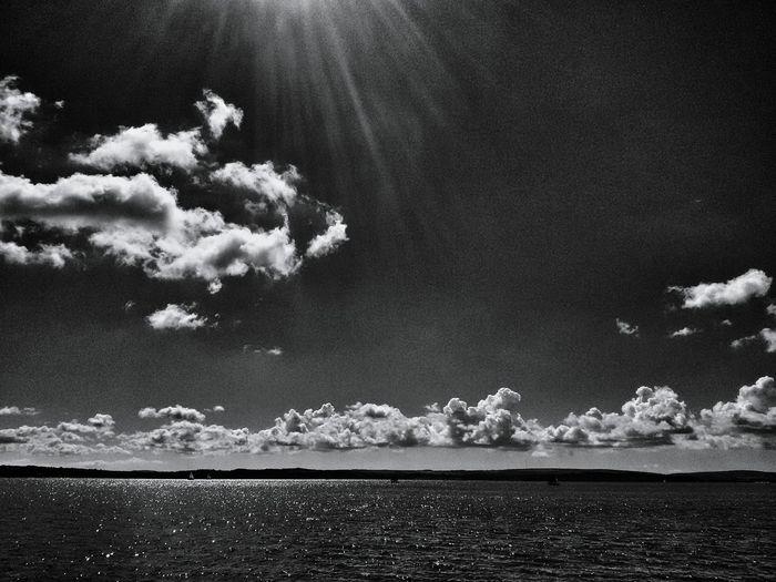 The pleasant sea side in monochromatic tone ☺ Sea Sunshine Clouds Sky Weather Landscape Scenery Leep Beach Light Water Reflections