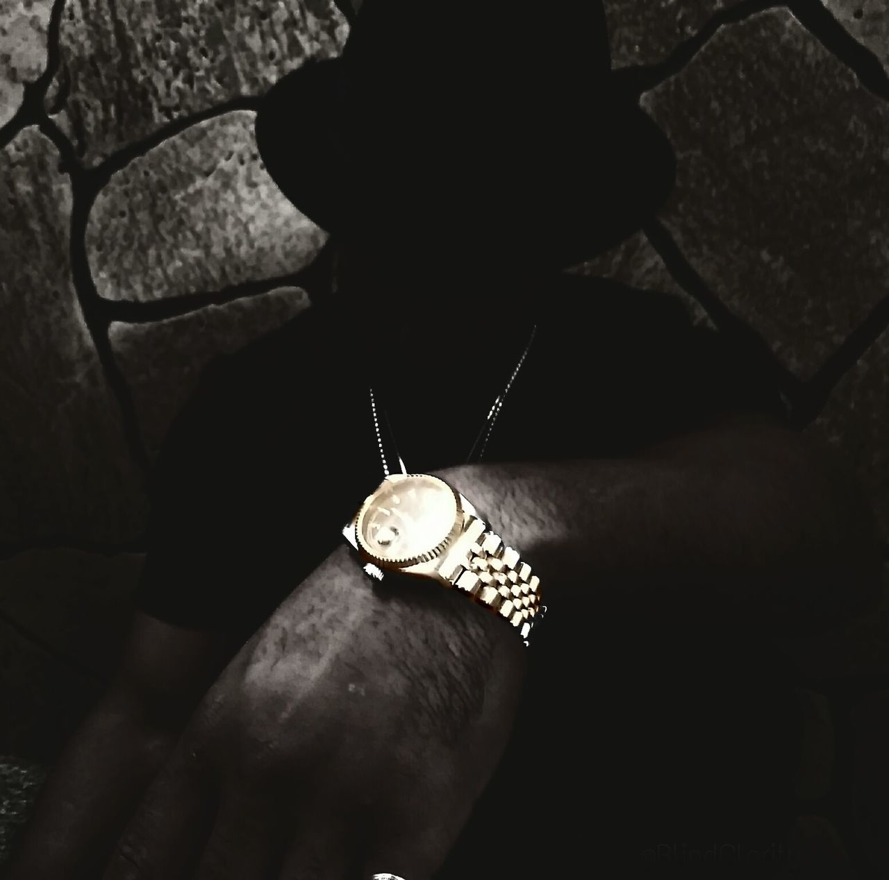 Dark Times Exclusiveview Timeless Watch Gold Rolex Jewelry Necklace Dark Shadow Showcasejuly Beauty BlindClarity Color Blackandwhite Eyegotit Fresh Urban Style Classic Design Technology EyeEm Best Shots Conretejungle Pose Fine Art Photography