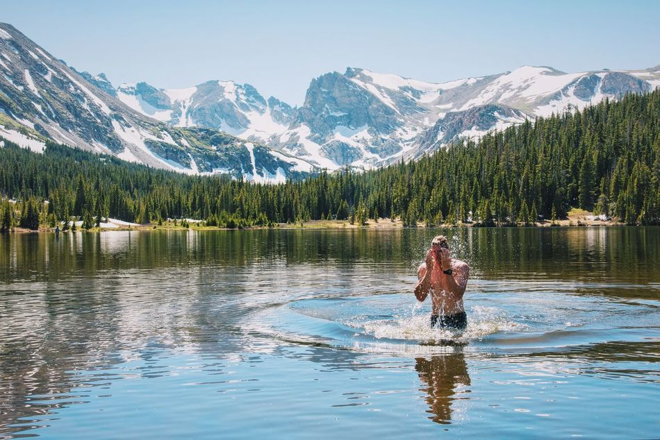 Beautiful stock photos of wetter, reflection, mountain, one person, adults only