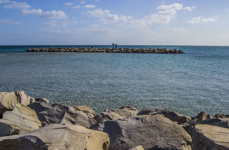 Nabeul's Beach Mediterranean  Tunisia Beach Beauty In Nature Day Fishing Horizon Over Water Nabeul Nature Outdoors Rock - Object Scenics Sea Sky Tranquility Tunisie Water