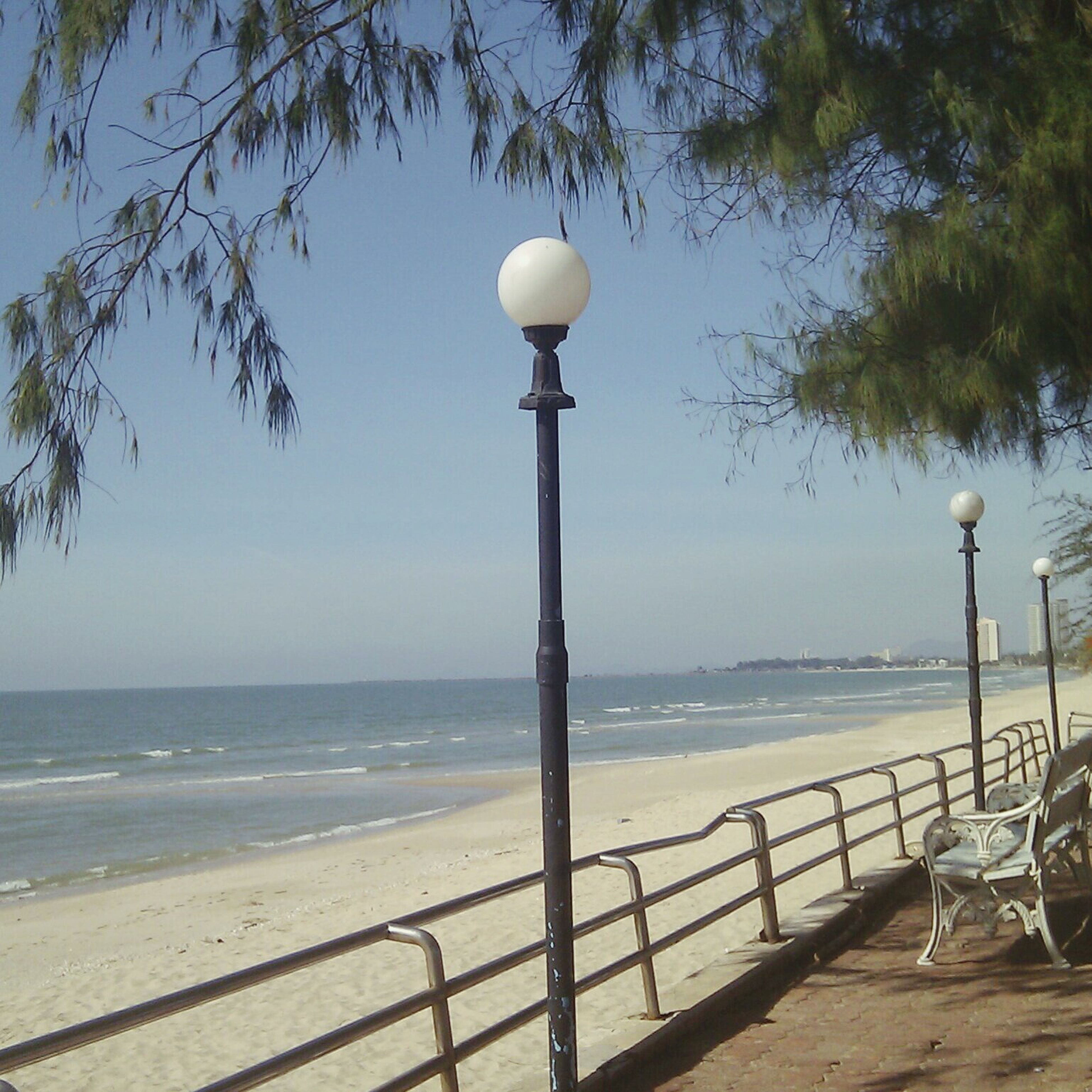 sea, street light, water, lighting equipment, horizon over water, tranquility, tranquil scene, beach, tree, sky, nature, scenics, railing, lamp post, clear sky, shore, beauty in nature, outdoors, no people, pole
