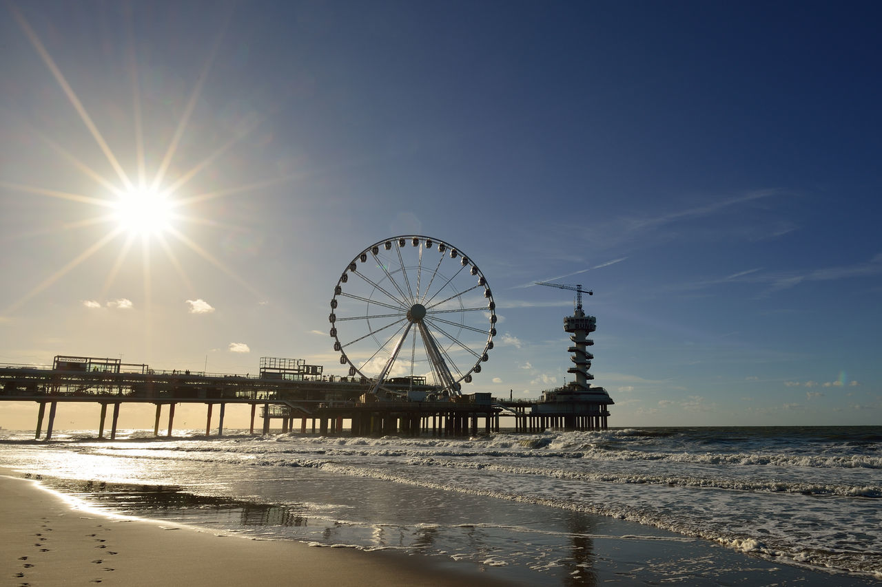 Beach Big Wheel Pier Sand Scheveningen Pier Sea Shore Sky Sun Sunbeam Sunlight Water