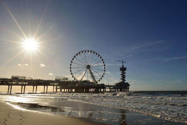 Beach Big Wheel Pier Sand Scheveningen Pier Sea Shore Sky Sun Sunbeam Sunlight Water