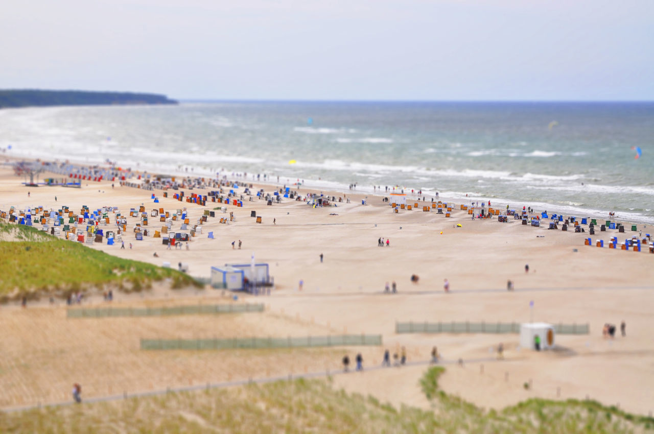 Adult Adults Only Architecture Baltic Sea Beach Crowd Day High Angle View Large Group Of People Miniature Mixed Age Range Ocean View Outdoors People Sand Sea Sky Tilt-shift Travel Destinations