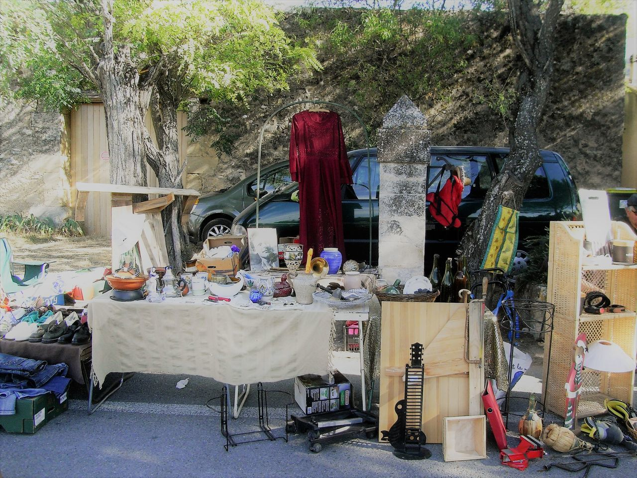 Choice Day Marked Market Stall No People Outdoors Selling On The Street Summer Table Tree Variation