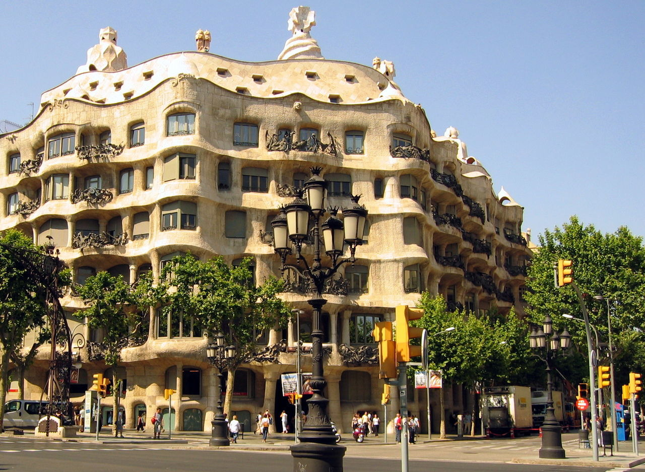 Architecture Barcelona Building Exterior Built Structure City Day Gaudi Outdoors People Tree
