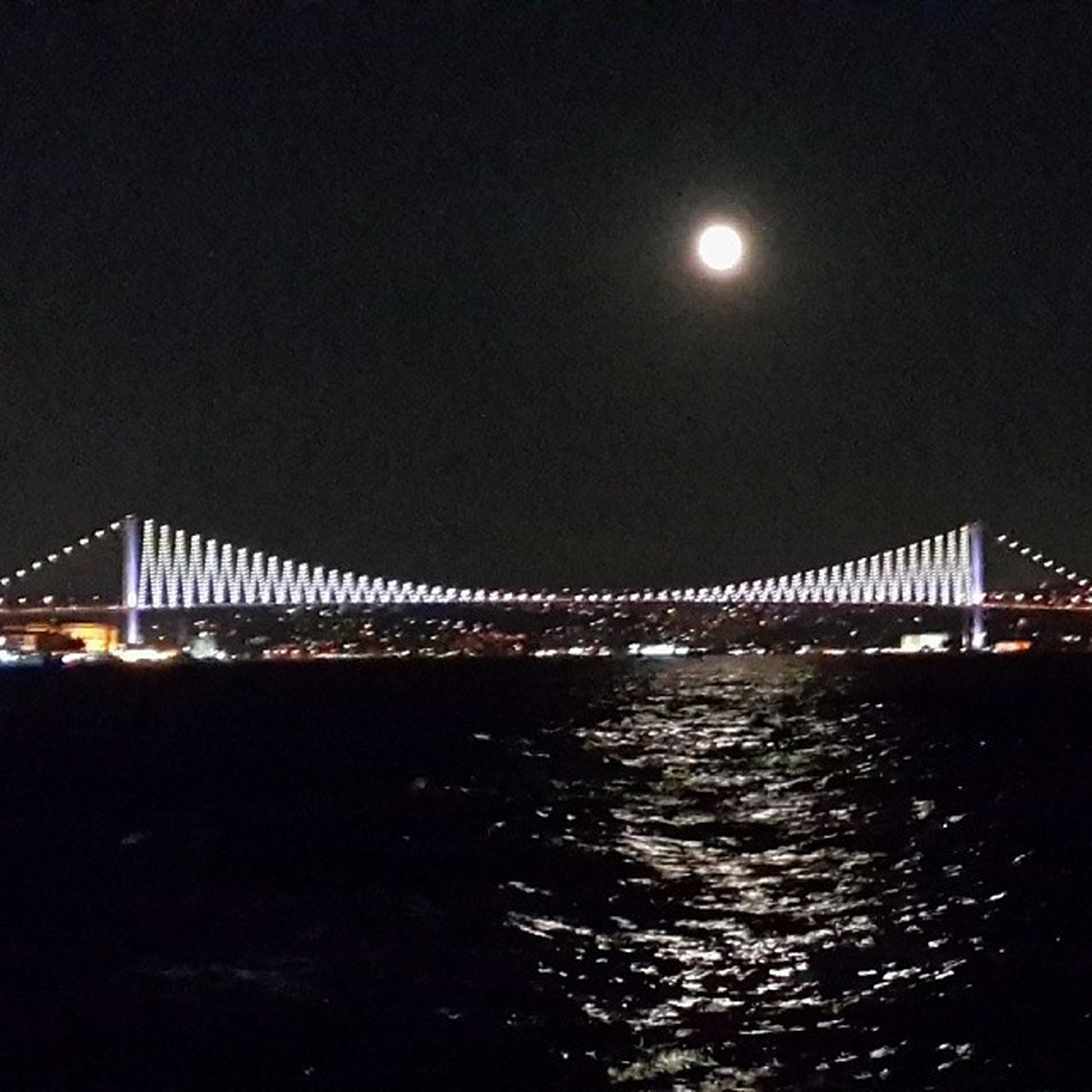 water, illuminated, night, built structure, connection, architecture, bridge - man made structure, waterfront, sea, river, bridge, sky, reflection, clear sky, engineering, street light, rippled, moon, copy space, nature