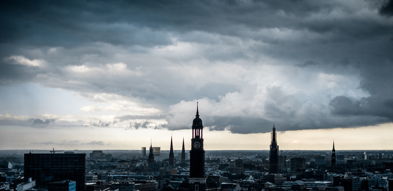 After the rain: Hamburg fresh and clean. 35mm Architecture Built Structure City City Cityscape Cloud - Sky Clouds Day Dramatic Sky Epic Fujifilm Fujinon Germany Hamburg Horizon No People Outdoors Panorma Sky Skyline Storm Travel Destinations Urban Skyline X-T10