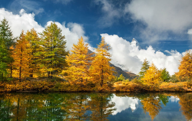 Swiss Alps. Alps Autumn Beauty In Nature Cloud - Sky Europe Lake Mountain Nature Outdoors Reflection Sky Swiss Alps Switzerland Tree Water