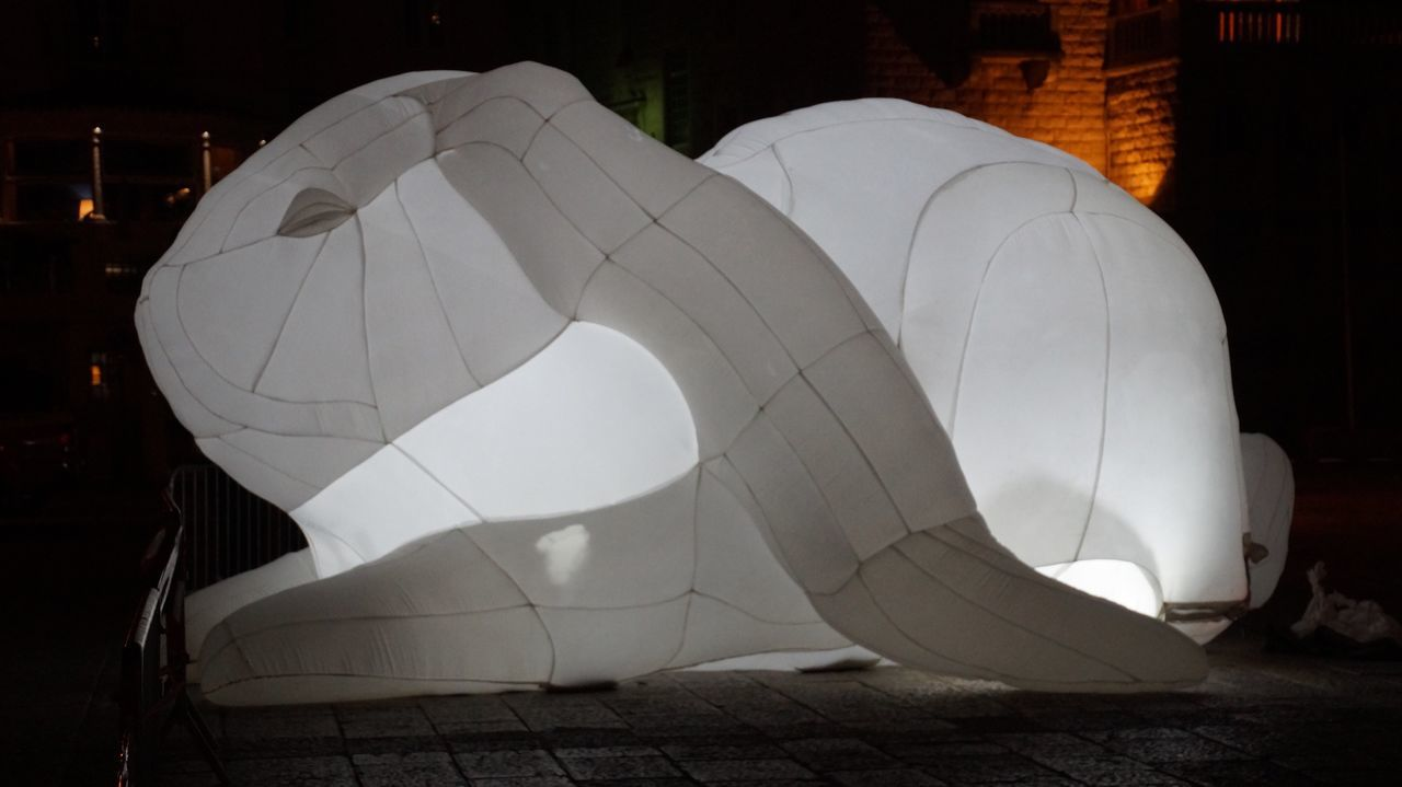 night, outdoors, white color, built structure, architecture, illuminated, building exterior, tent, no people, close-up