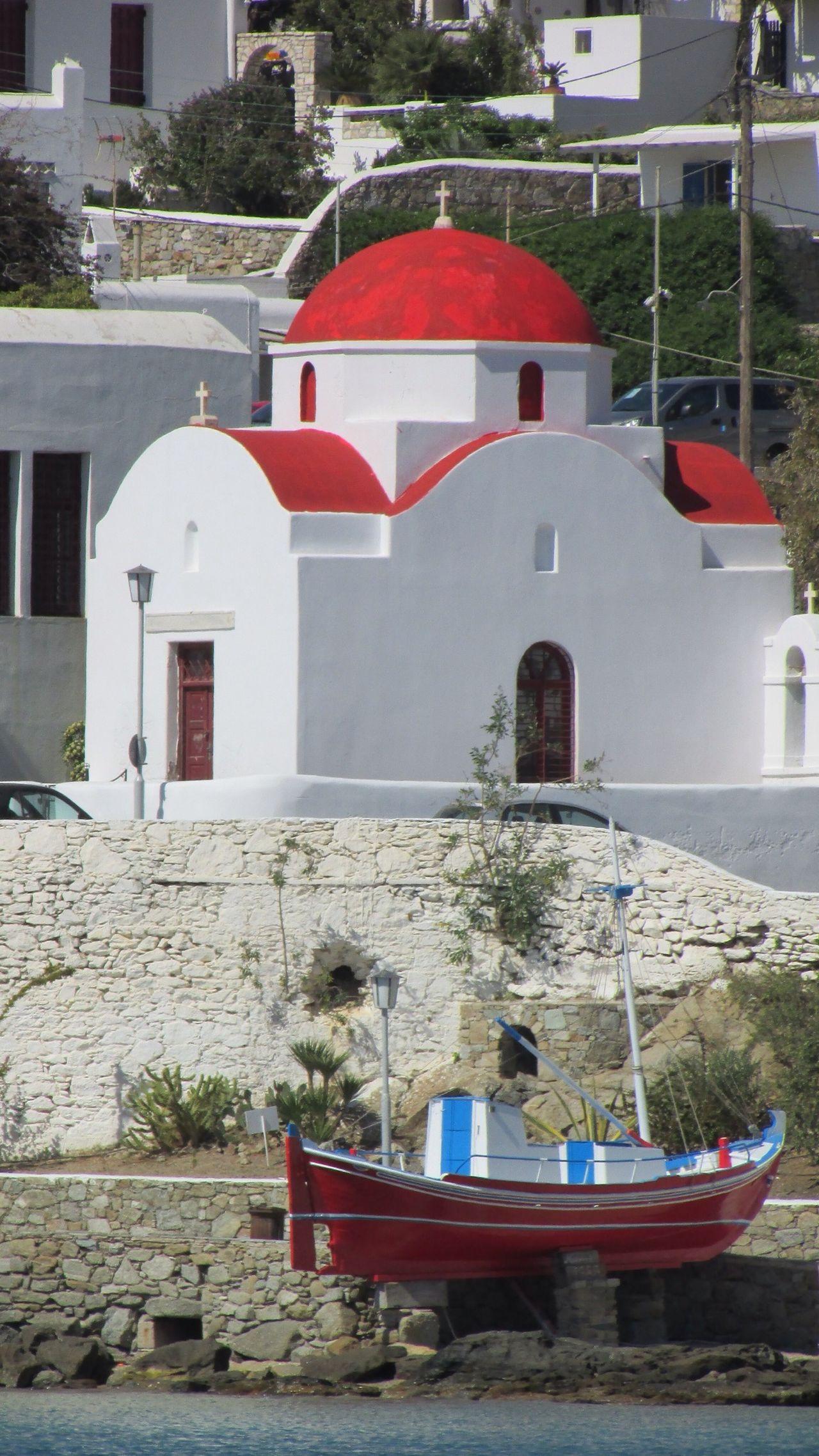 GREECE ♥♥ Mykonos Churches Travel Greece Church Row Boat Ancient Architecture Seascape