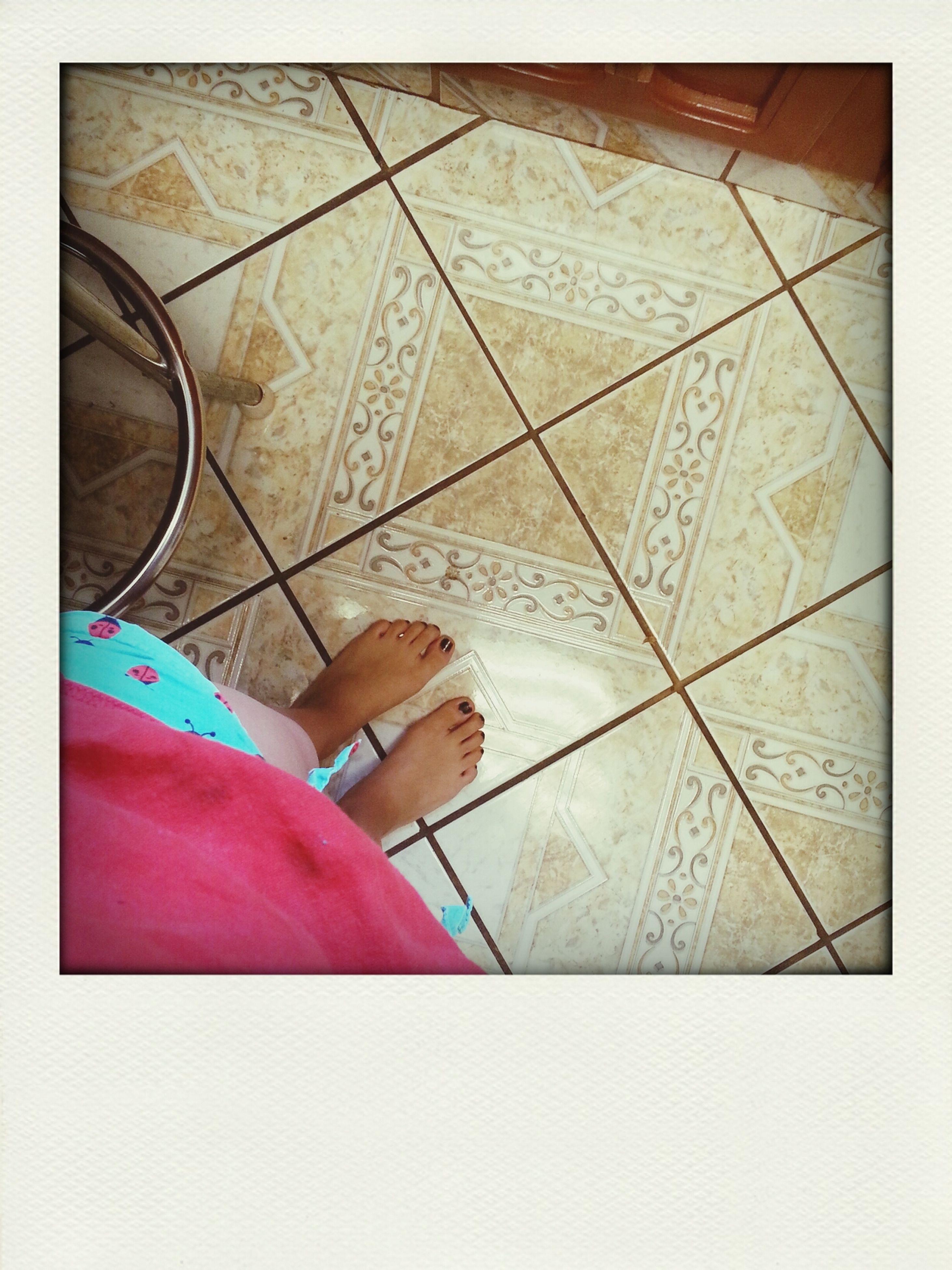 indoors, transfer print, auto post production filter, design, pattern, creativity, art, high angle view, art and craft, paper, close-up, multi colored, pink color, part of, floral pattern, still life, textile, day, tiled floor, table