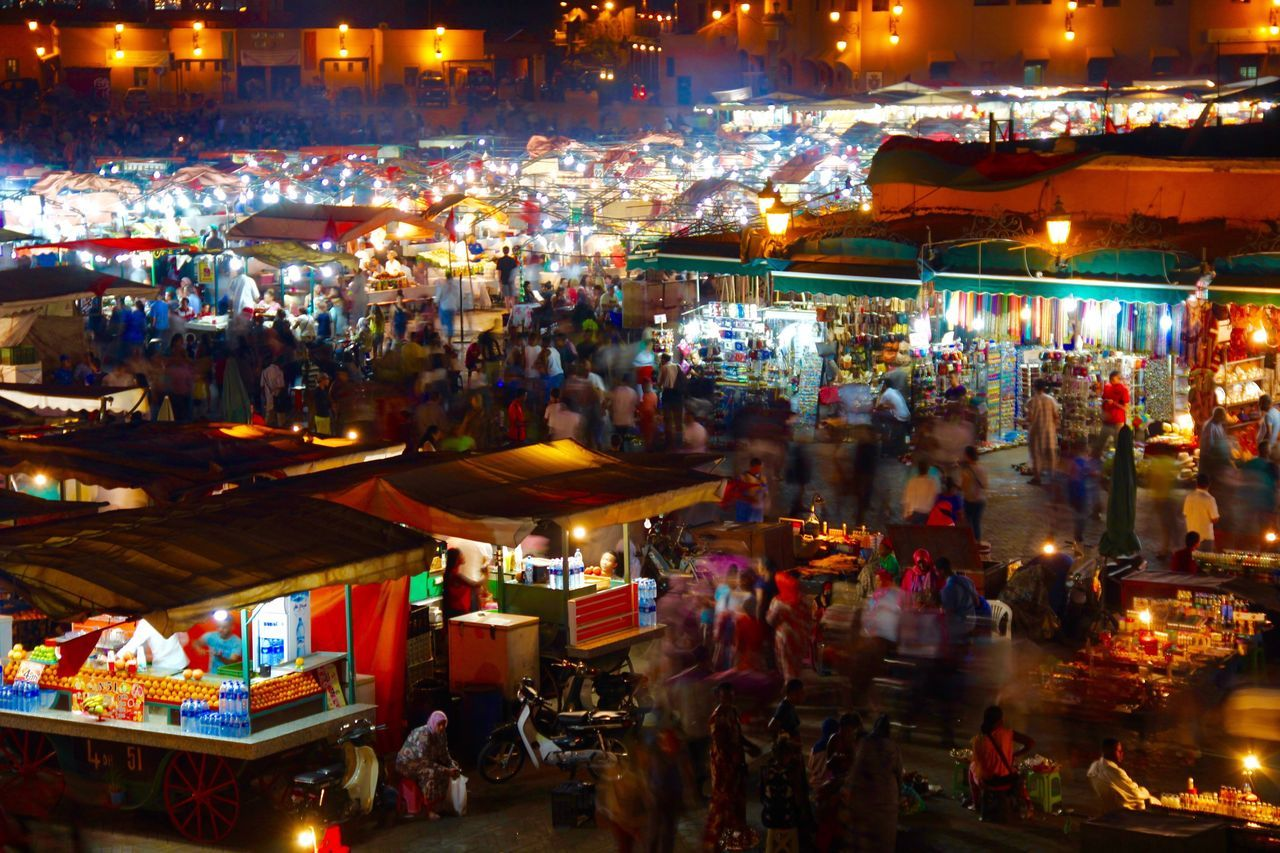 EyeEm Travel Photography Market Crowd Travel Photography Hustle And Bustle High Angle View Night Life Festival Vibes Illuminated Shadows & Lights Eyeem Shadows And Lights Wanderlust Marrakech Night Photography