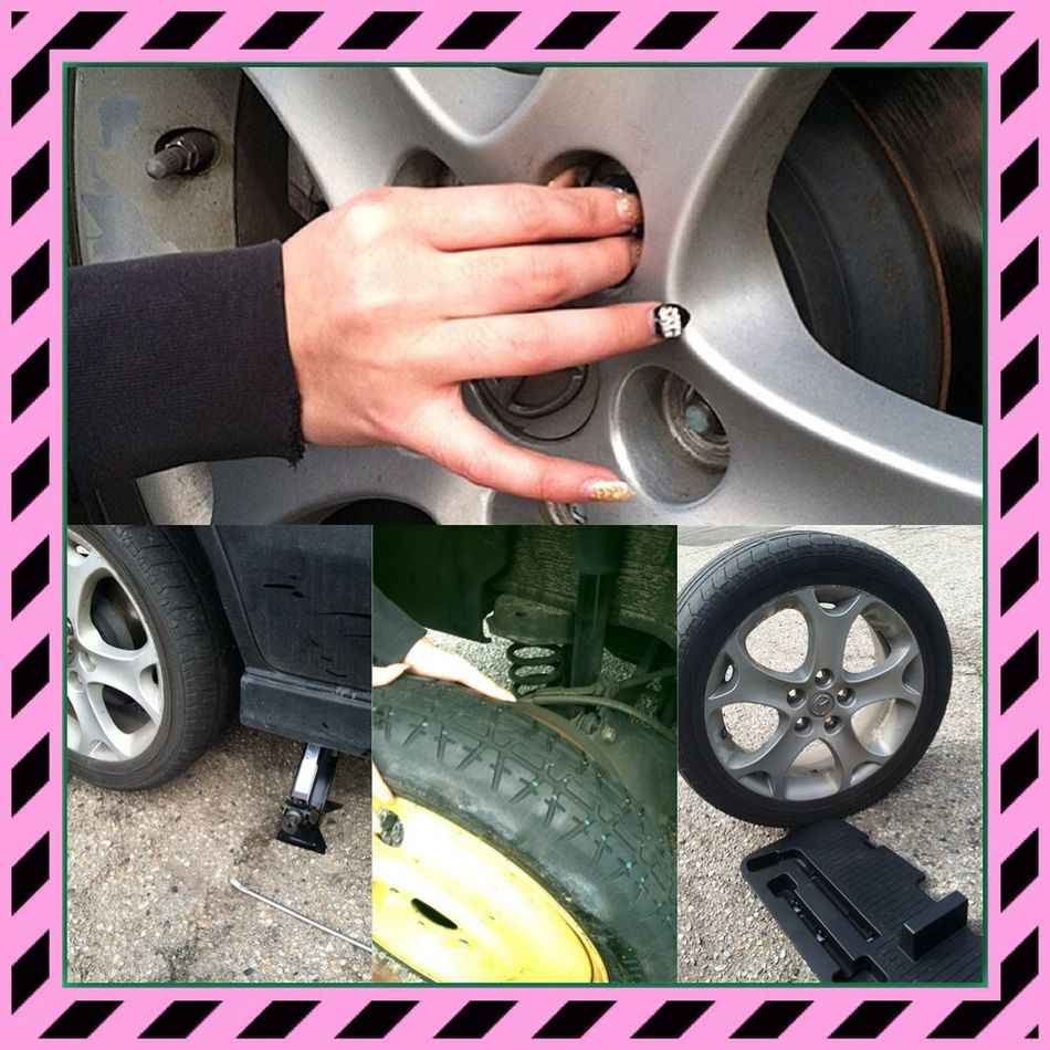Changed my own tire, in heels and Chanel nails, what u know about that. 15 minutes and my own tools while eating pizza lol Share My World:) Just Me True Story Independant