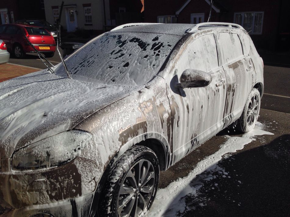 washing the car.
