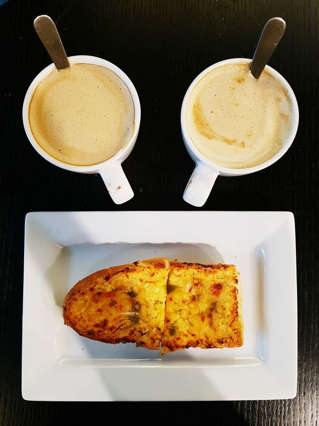 The OO Mission Chilli Toast with Coffee Coffee Toast Cups Plate Citcles Caffine Still Life Smile ShareTheMeal