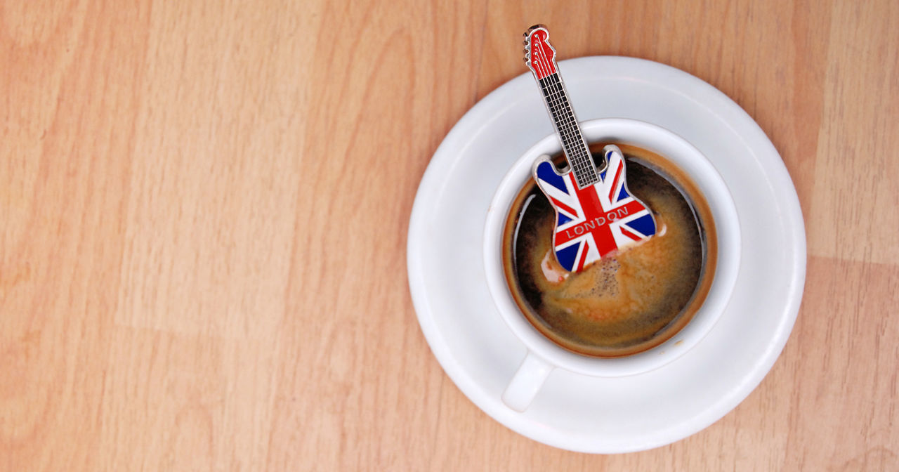 rock and roll Close-up Day Deep Purple England Espresso Flag Food Food And Drink Freshness Guitar Indoors  Italy Led Zeppelin Music Musician No People Patriotism Rock And Roll Rock Music Souvenir Uk