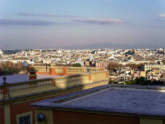 Rome Italy Rooftops Horizontal Colour Image Panoramic View Giannicolo Janniculum Hill Europe Capital City City Travel And Tourism City Breaks City Sightseeing Urban Landscape Cityscape Elevated View Nobody