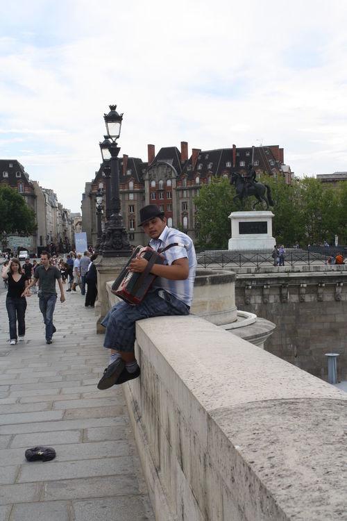 Accordion Busking City Life Man With Hat Paris