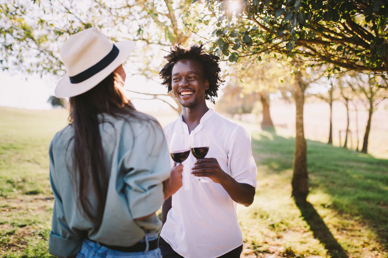 African Ethnicity Chatting Couple Smile Wine Wine Glass Wine Tasting Wineglass Wine Not