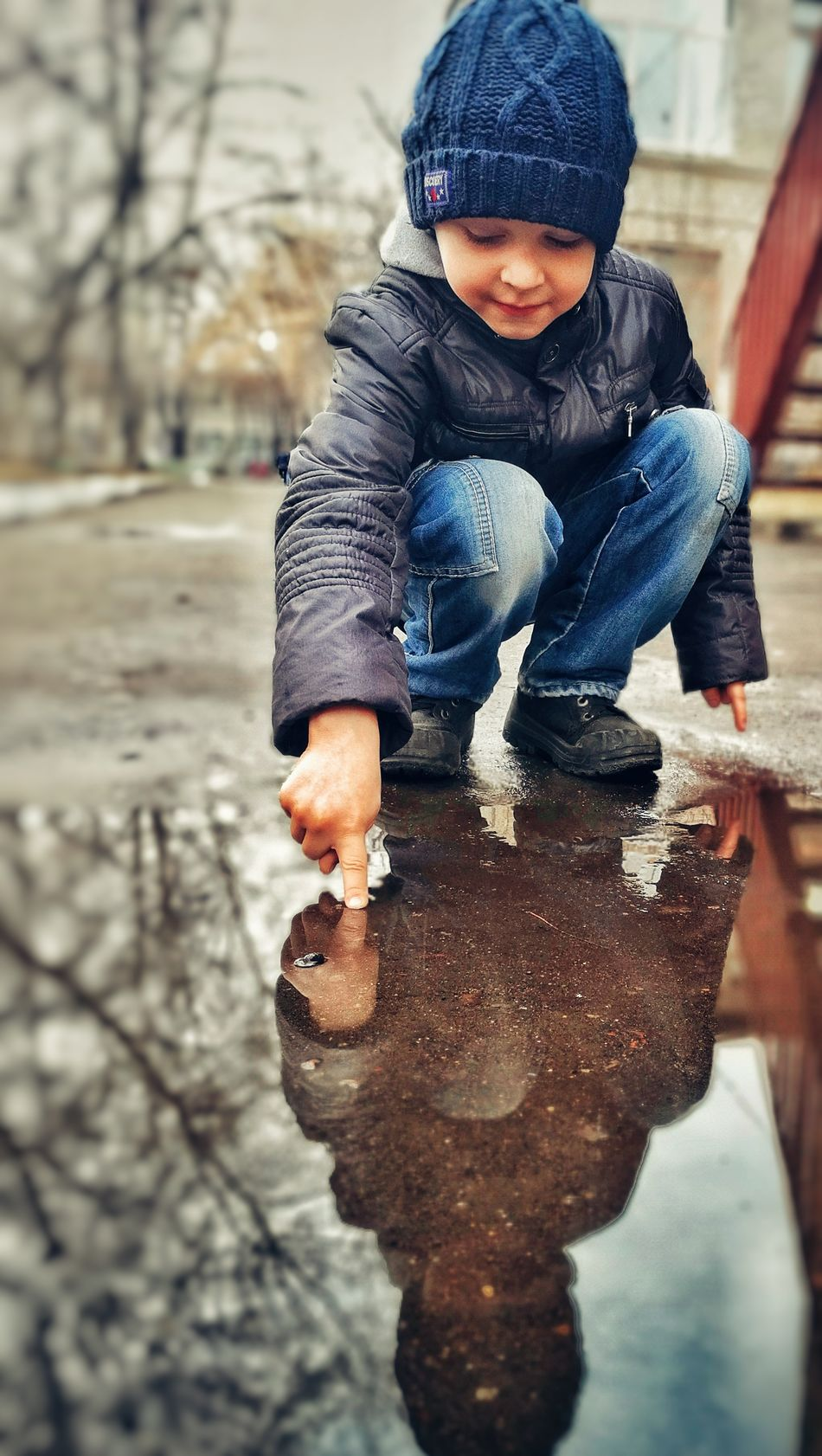 Child Warm Clothing People Full Length One Person Outdoors Day Children Only Boys Lifestyles Real Life Real People Close-up Happiness Multi Colored Rain Water Reflection Portrait Beautiful People