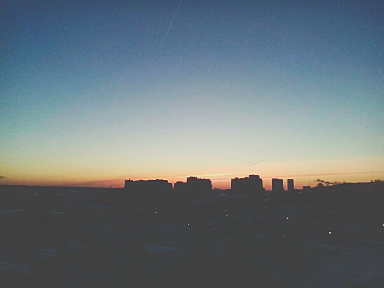 architecture, sunset, building exterior, cityscape, silhouette, built structure, no people, skyscraper, city, sky, outdoors, clear sky, nature, beauty in nature, day