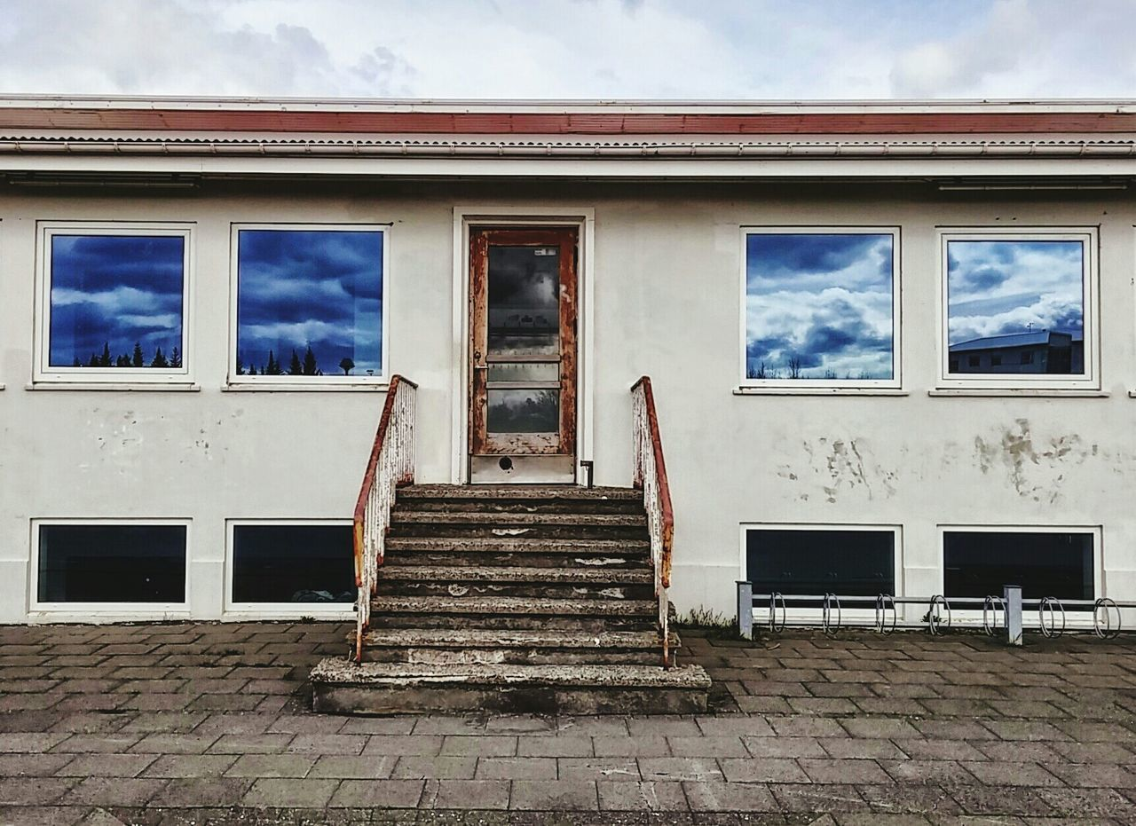 window, cloud - sky, architecture, built structure, sky, steps, building exterior, day, damaged, no people, bad condition, outdoors