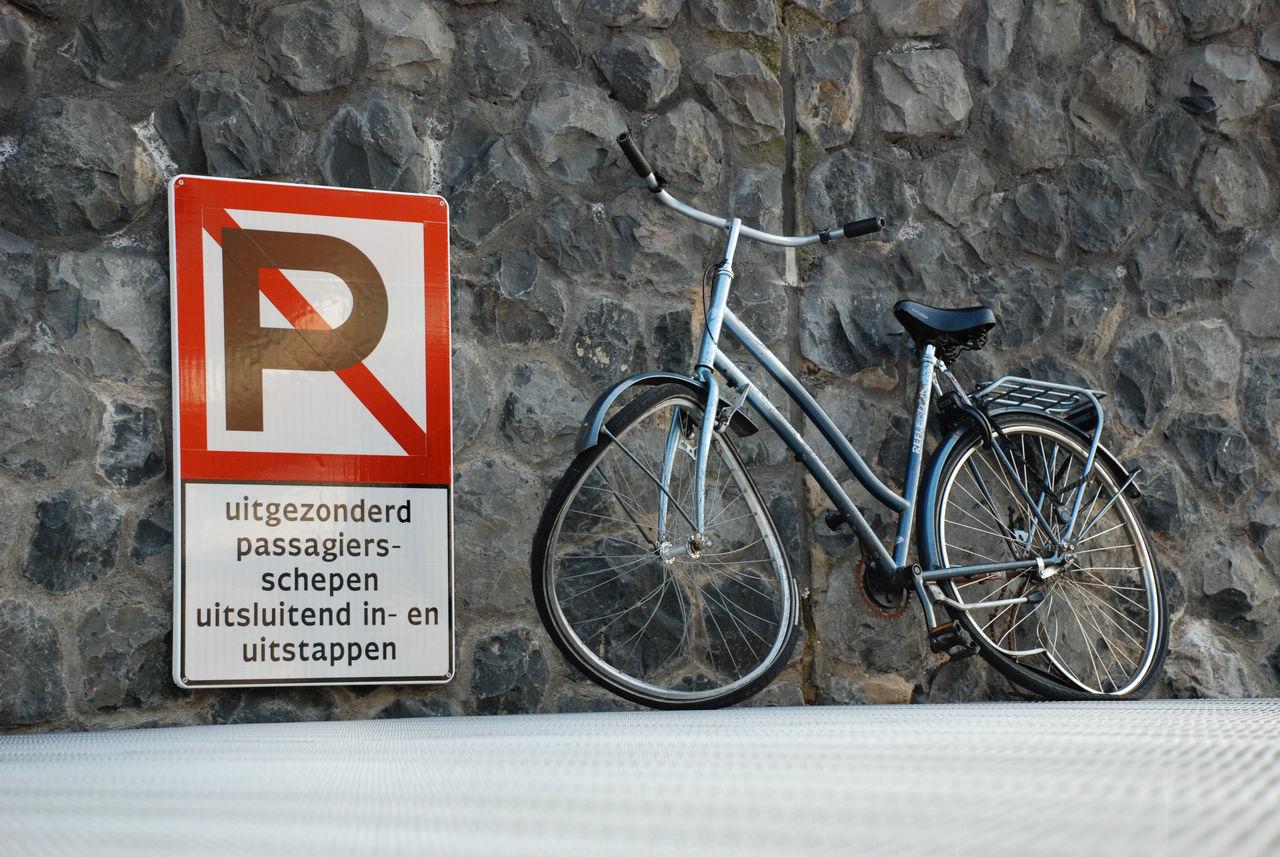 Broken Bicycle Bicycle Day Grey No Parking Sign No People Outdoors Wall Warning Sign