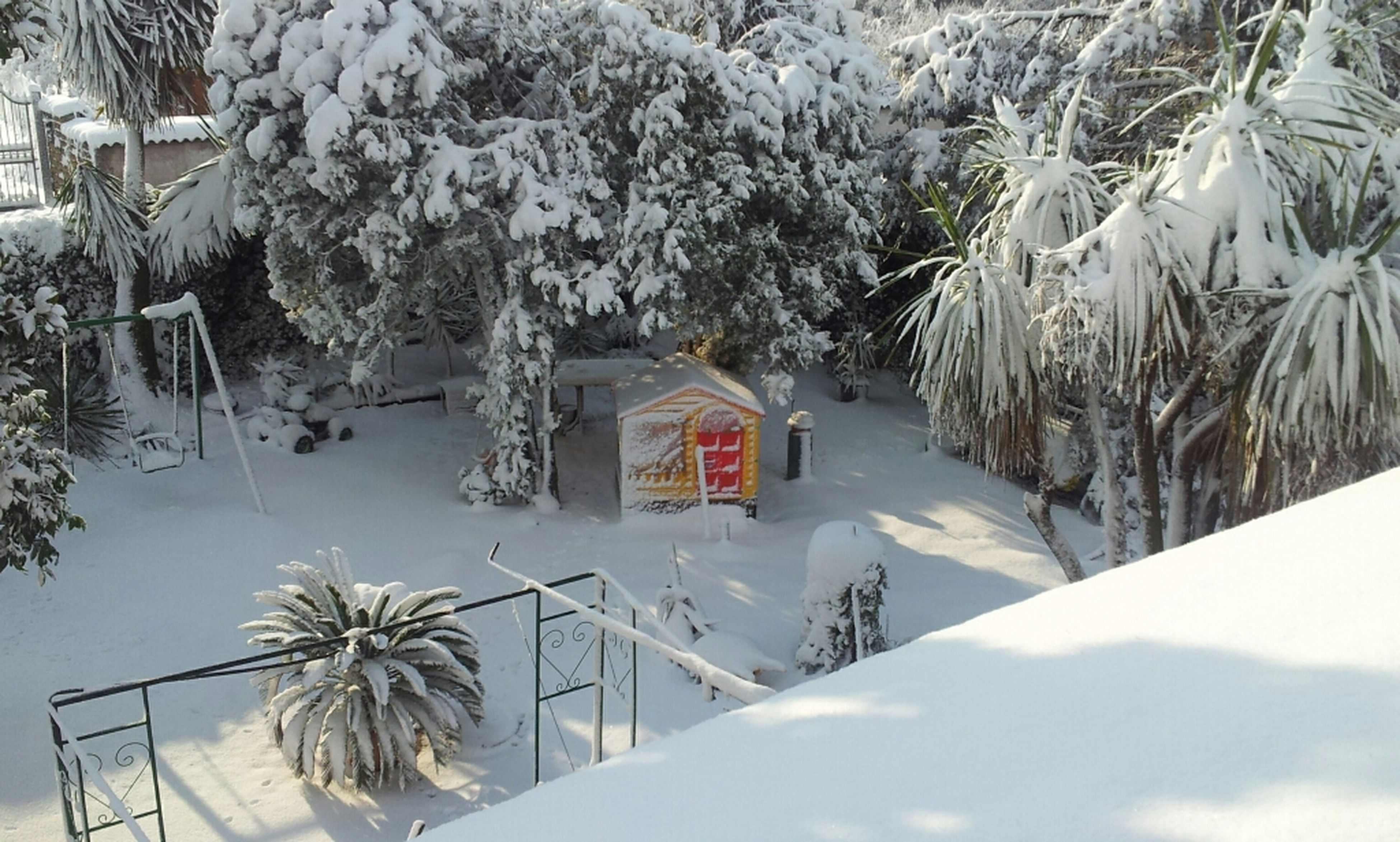 snow, winter, cold temperature, building exterior, tree, architecture, built structure, house, season, covering, weather, white color, nature, residential structure, high angle view, bare tree, day, covered, outdoors, no people
