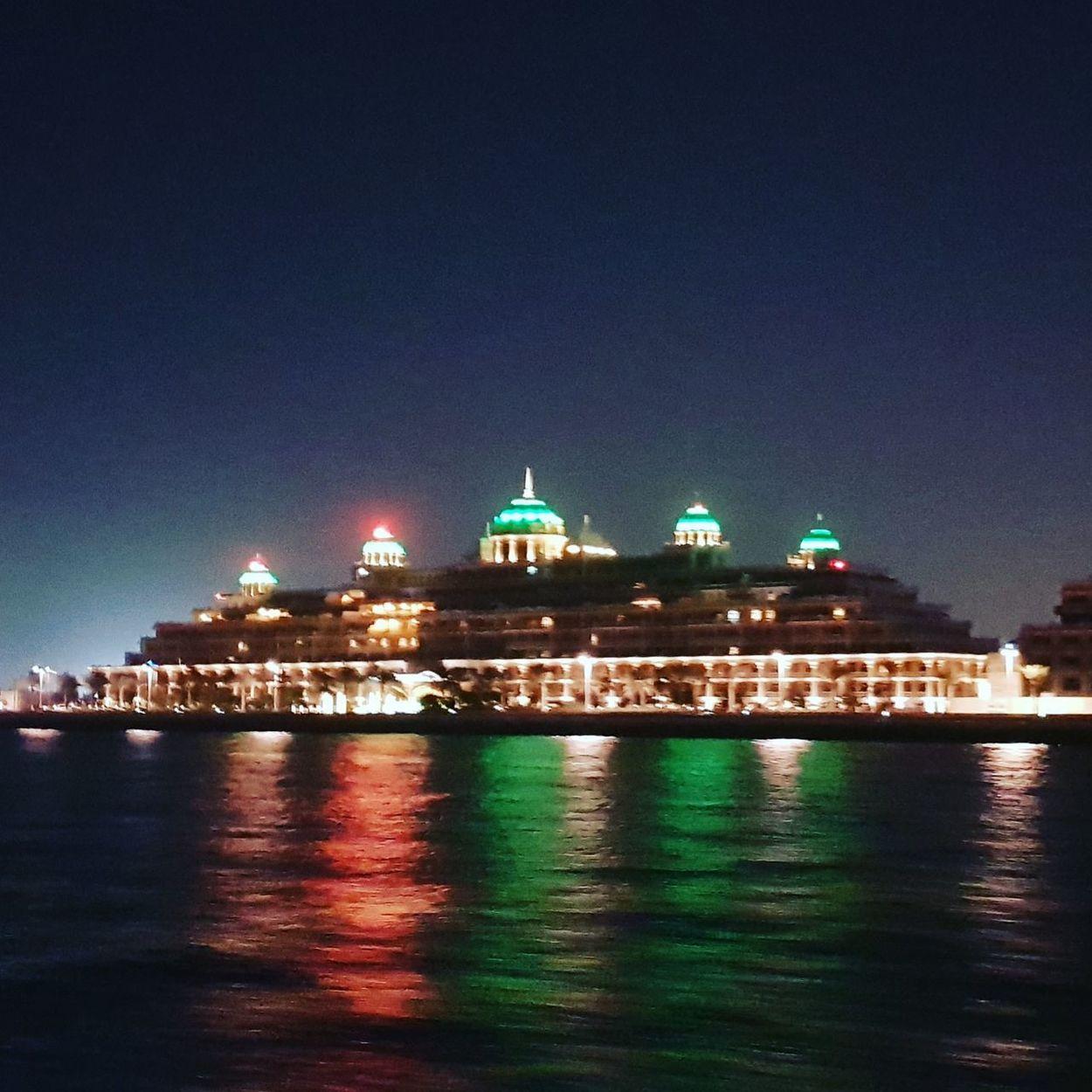 Night Illuminated Water Dome Building Exterior Sea Architecture City Sky
