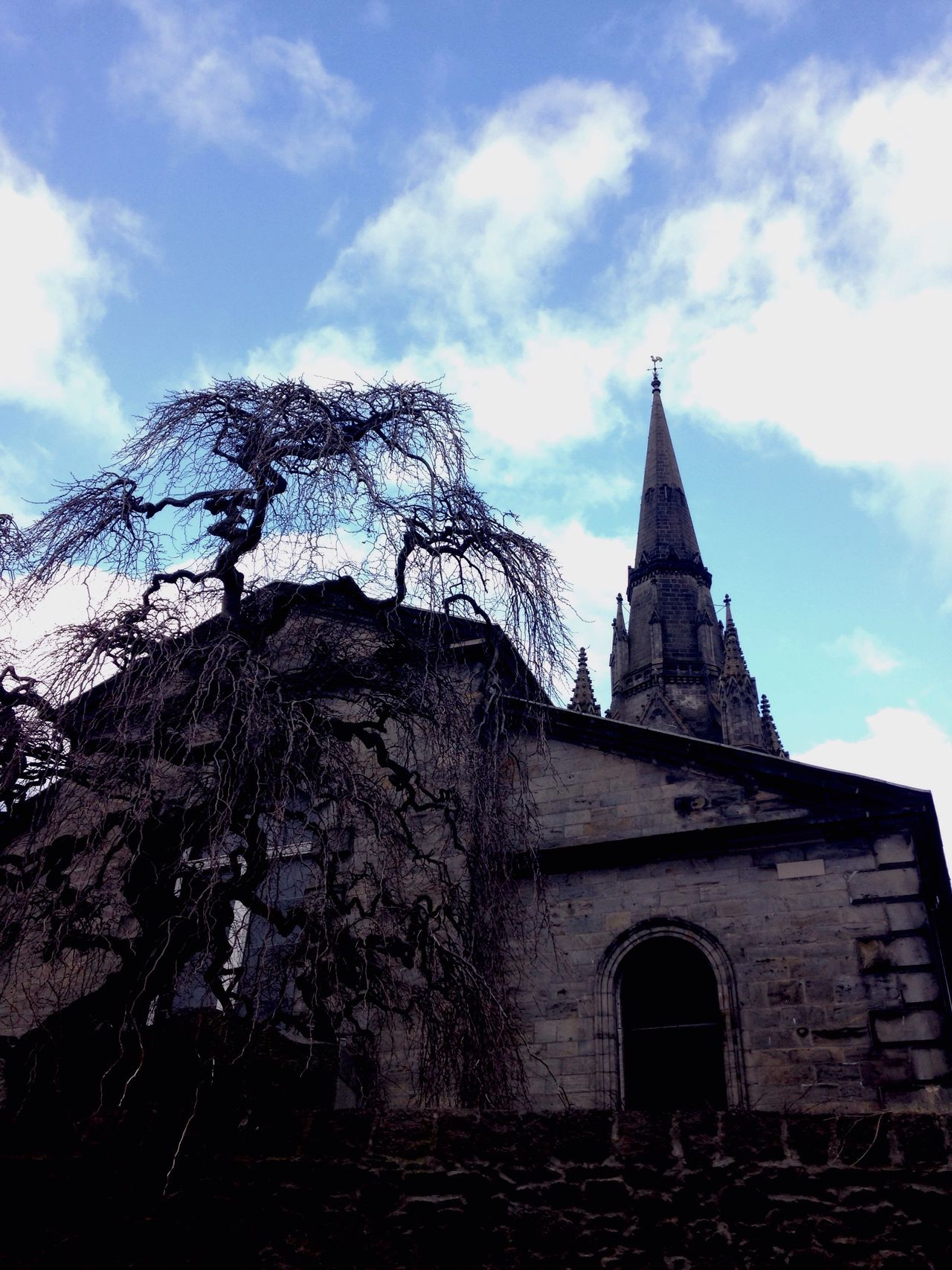Learn & Shoot: Balancing Elements Church Witches Fingers Blue Sky Blackandblue Tree Branches Tree