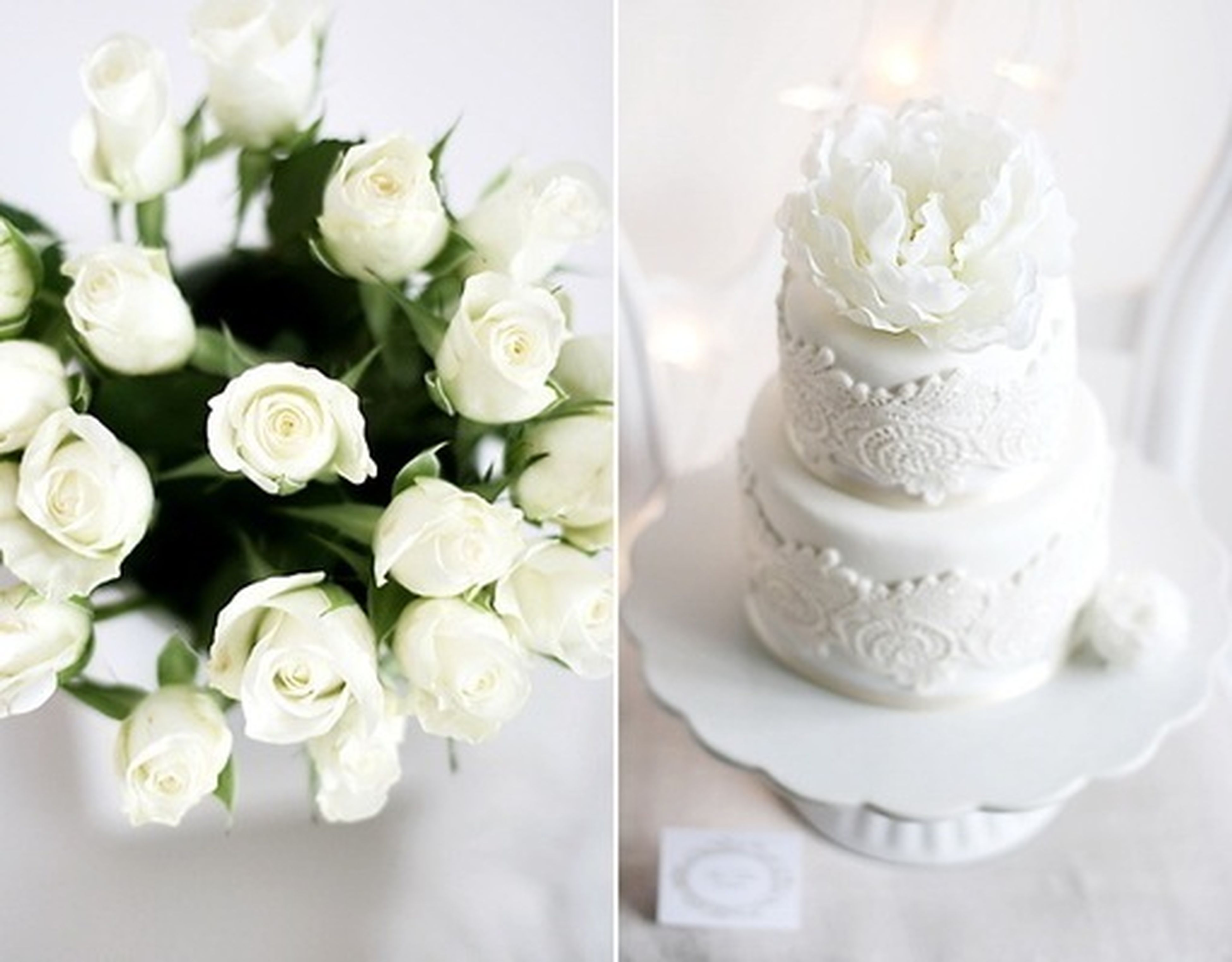 indoors, freshness, flower, white color, close-up, still life, petal, fragility, sweet food, table, white, food and drink, vase, rose - flower, no people, flower head, decoration, high angle view, bunch of flowers, focus on foreground