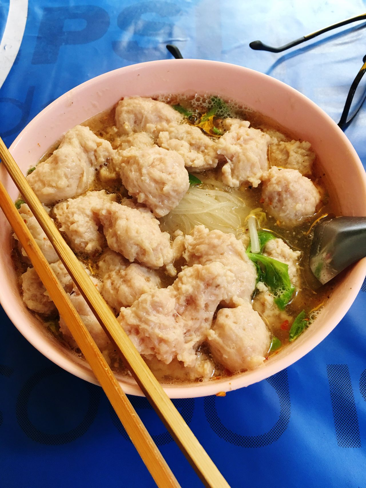 Big bowl noodles Pork Ball noodles Food And Drink Food Ready-to-eat Bowl Table Freshness Serving Size Close-up Healthy Eating No People Day