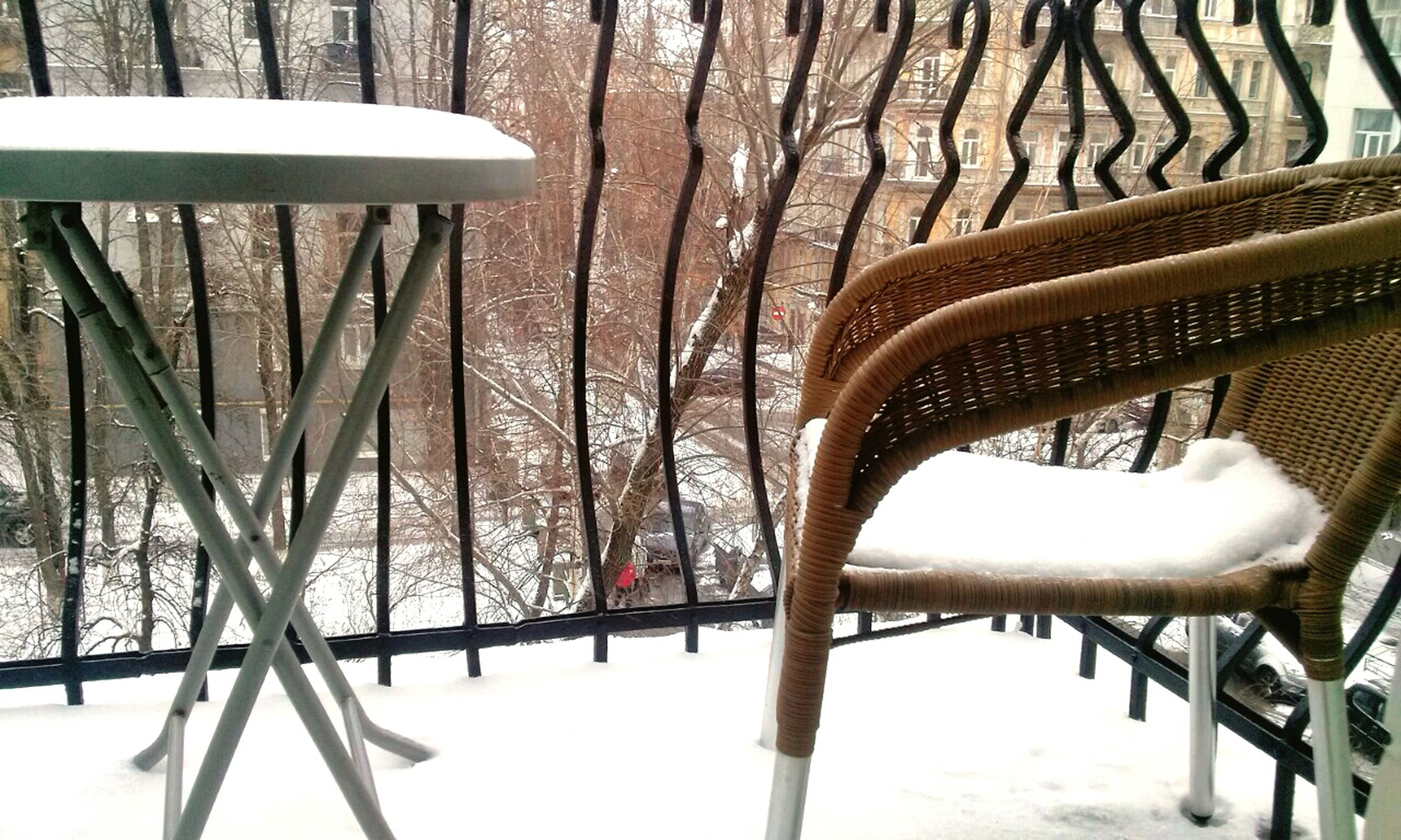 snow, winter, cold temperature, season, chair, tree, covering, weather, absence, nature, white color, tranquility, covered, empty, bench, wood - material, no people, field, day, outdoors
