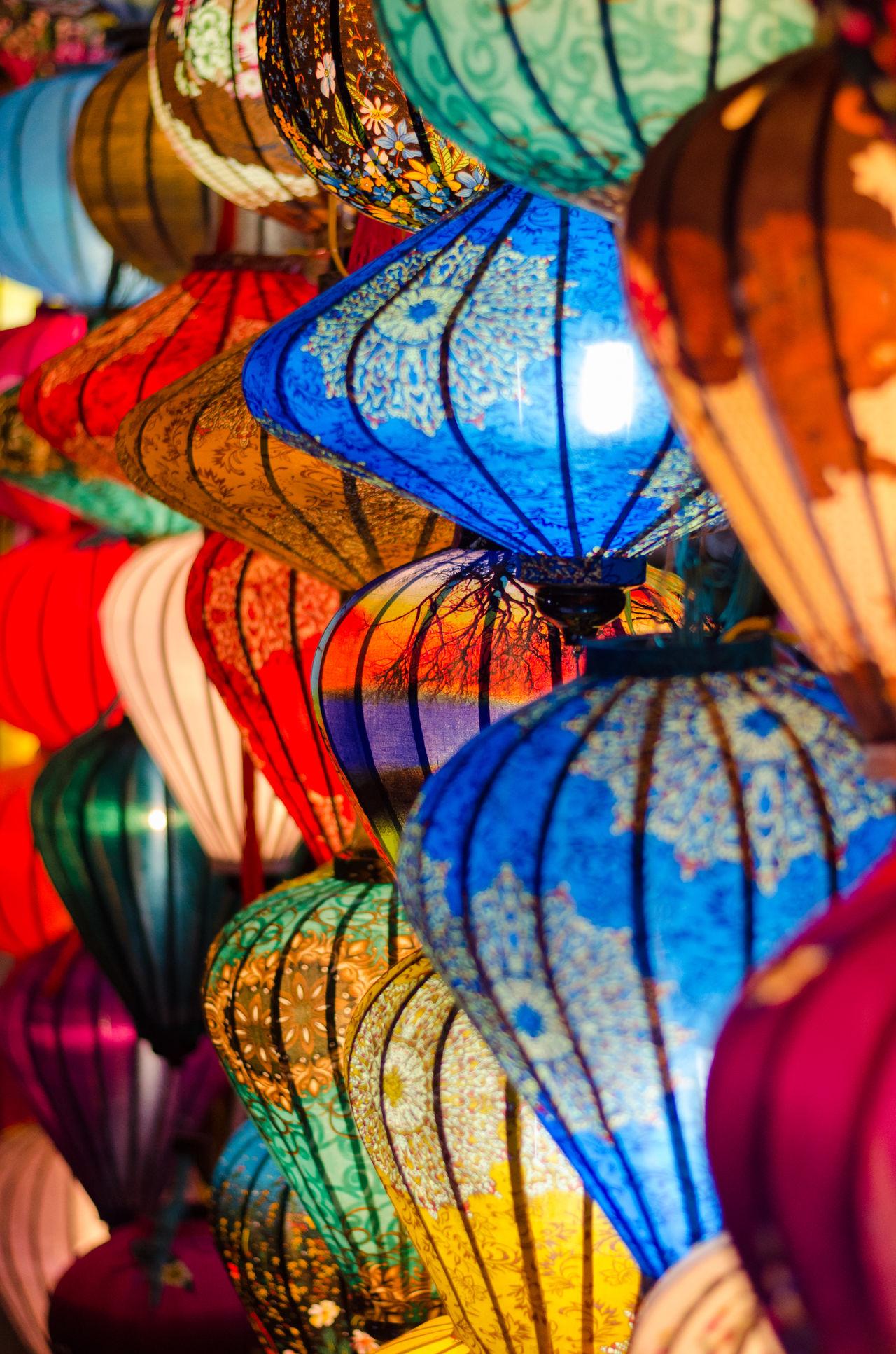 Multi Colored Travel Destinations Hoian, Vietnam Hoian Old Town HoiAnancienttown Hoi An World Backpacking Reisefotografie Traditional Culture Vietnam Market Nightphotography Nightlights Lampion Light
