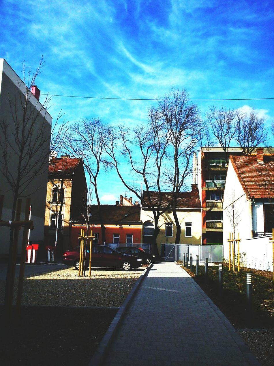 The Sky feels like a Van Gogh painting. Blue Blue Sky Houses City Szeged Szegedcity Szegedforever♥ Szegedi Hungary Szeged Eyeem Szeged Life In Szeged