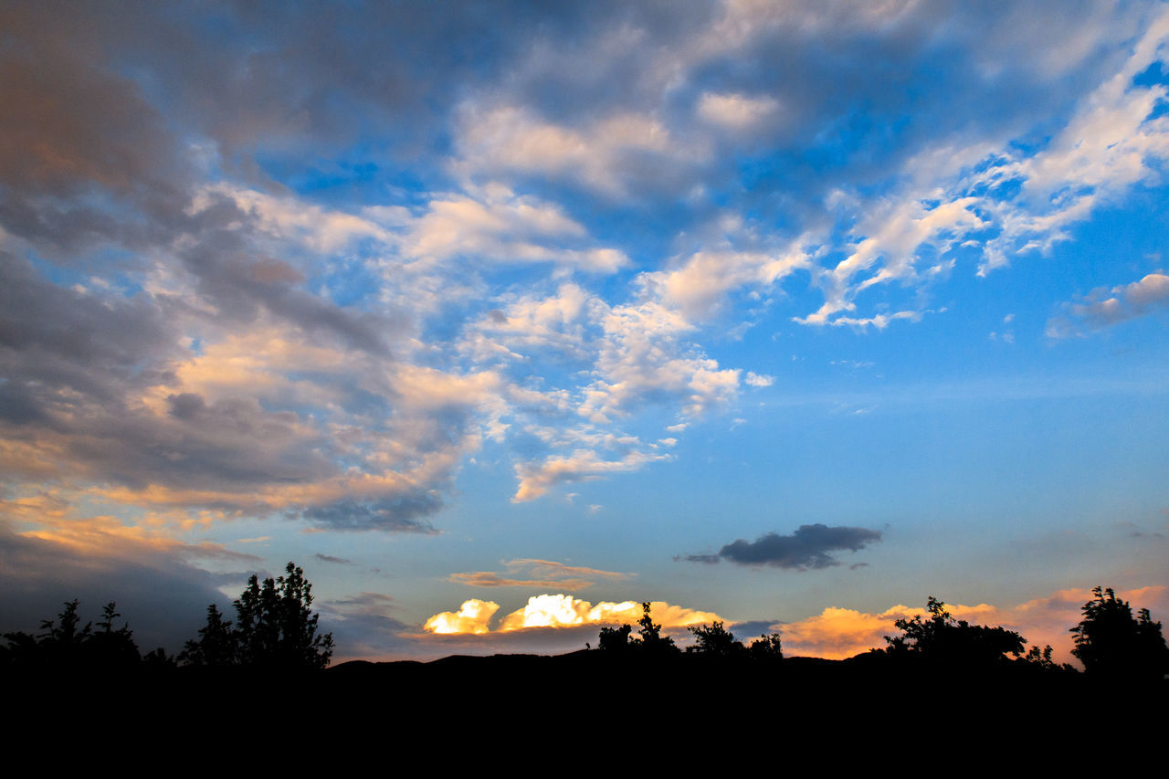 sunset, sky, silhouette, cloud - sky, scenics, beauty in nature, tranquil scene, tranquility, nature, tree, no people, outdoors, landscape, day