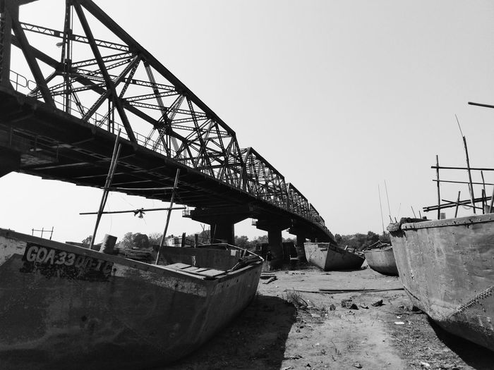 Brief escape... Boats Deep Perspective Blackandwhite Metal Construction Machinery No People Outdoors Day