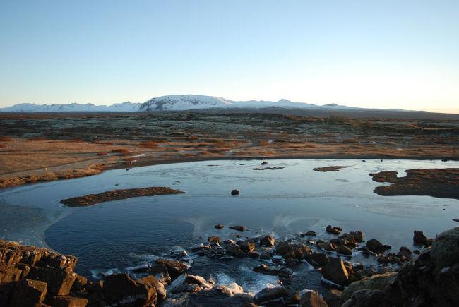Iceland Water Thingvellir National Park Idyllic Ice Stones & Water Snowcapped Mountain
