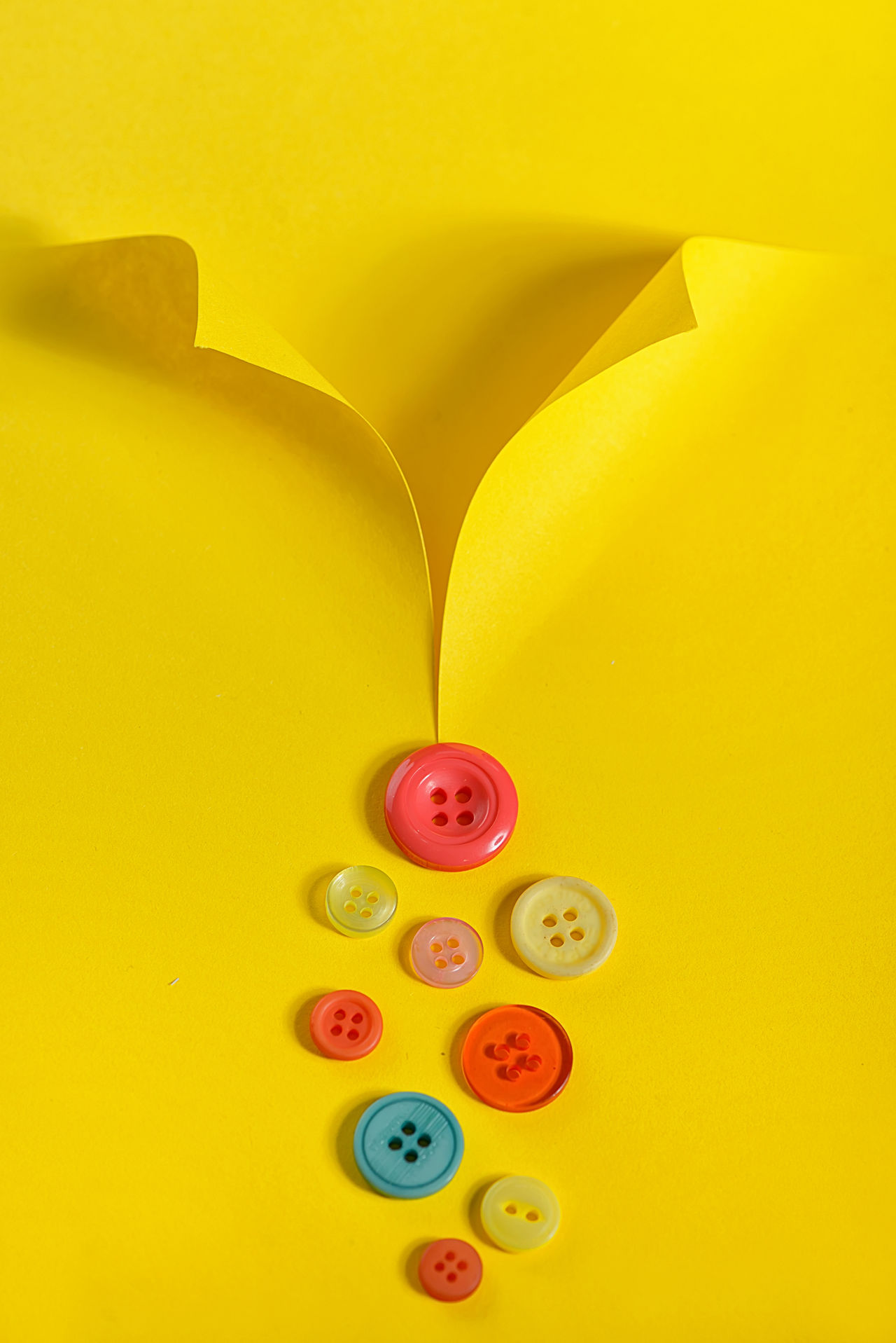 Abstract shirt from paper and buttons Abstract Button Close-up Day Multi Colored No People Paper Shirt Yellow