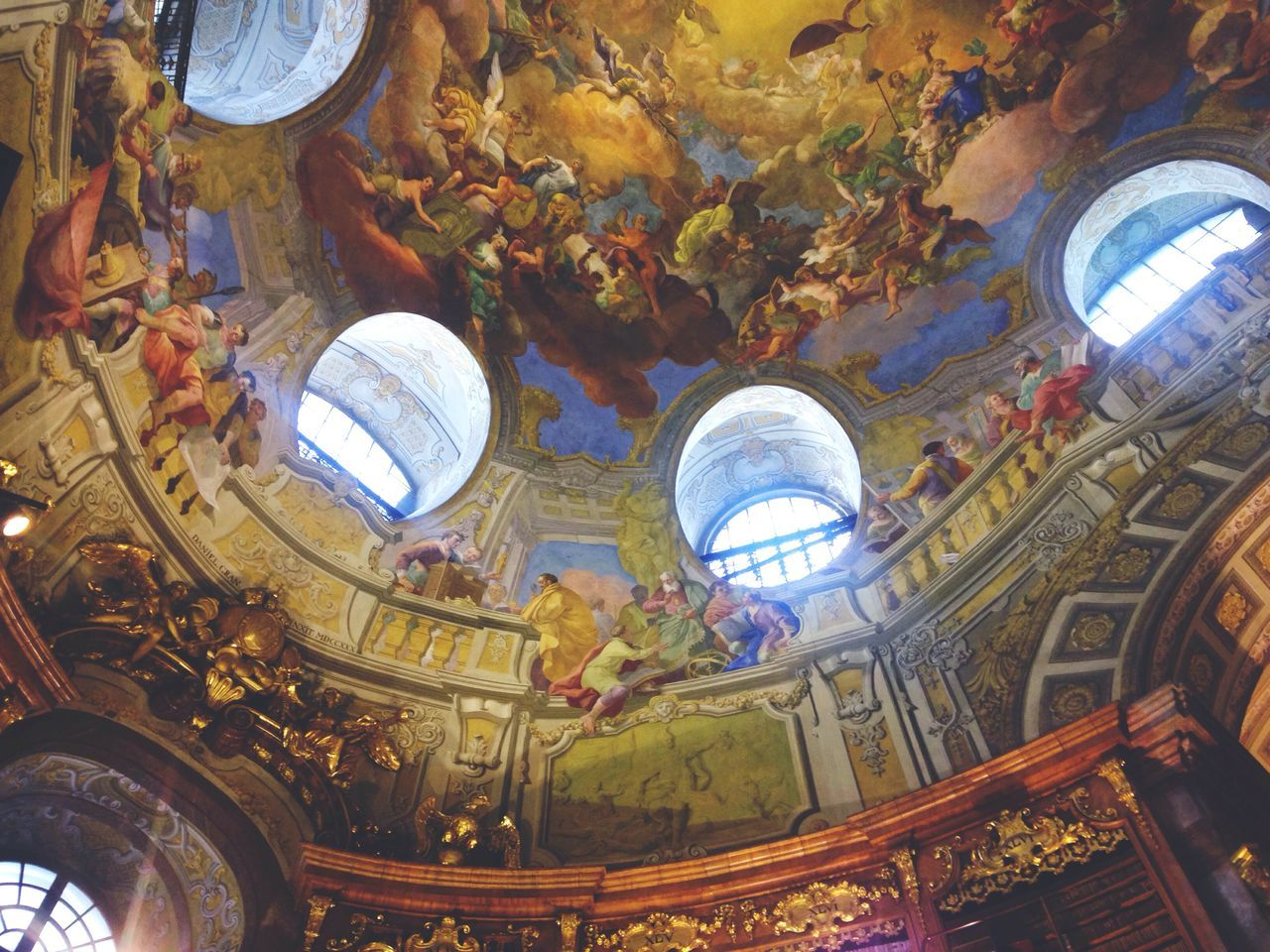 Details. Low Angle View Travel Destinations Religion Indoors  Architecture Dome No People Cultures Day Library Decor Architectureporn Paint Fresco Book Light And Shadow